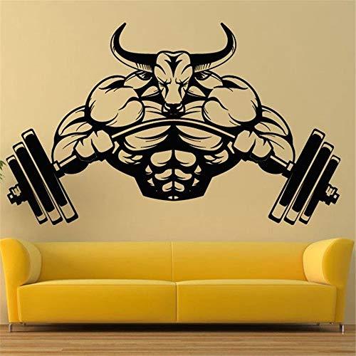 Lamubh Gym Aufkleber Fitness Bodybuilding Poster Muskel Hantel Vinyl Wanddekoration Sport Gym Aufkleber Home Decoration 57x93 cm