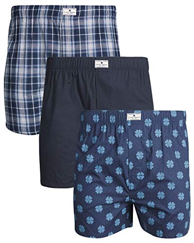 Lucky Brand Men's Woven Cotton Classic Boxer Briefs Underwear with Functional Fly, 3-Pack, Lucky Logo/Plaid, Medium