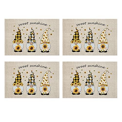 unkonw 4 manteles individuales rectangulares con diseño de gnomo de girasol, lavable, impermeable, resistente al calor, de algodón y lino