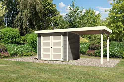 Karibu Gartenhaus Ahrensberg I 242 x 217 x 212 cm I Farbe: terragrau