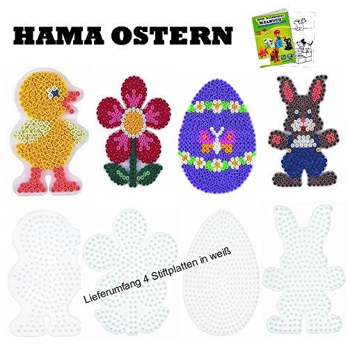 HAMA Stiftplatten-Set midi Ostern Osterei + Küken + Häschen + Blume + Malheft