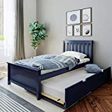 Max & Lily Solid Wood Twin-Size Trundle Bed, Blue