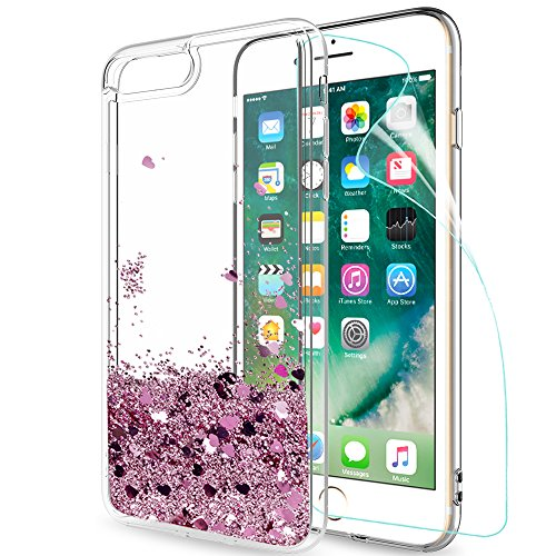 LeYi Funda iPhone 7/8 Plus Silicona Purpurina Carcasa con HD Protectores de Pantalla,Transparente Cristal Bumper Telefono Gel TPU Fundas Case Cover para Movil Apple iPhone 7/8 Plus ZX Oro Rosa