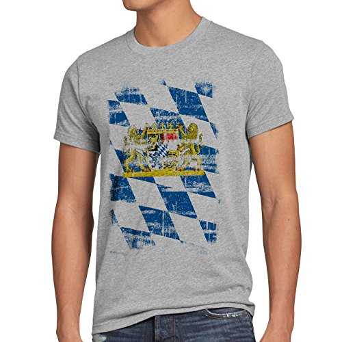 Bayern Vintage Flagge Herren T-Shirt München Oktoberfest Fussball FC, Größe:XL, Farbe:Grau meliert