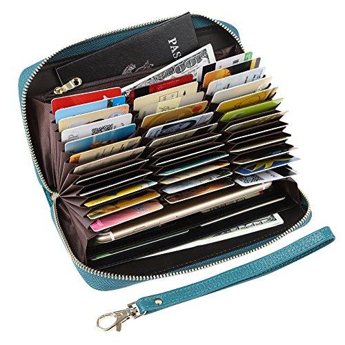 Women's RFID Blocking 36 Slots Card Holder Long Big Leather Zipper Wristlet Clutch Wallet, Blue