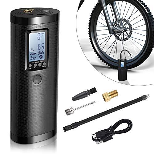 Vastar Elektrische Luftpumpe Akku Mini, 0-100PSI, 2000mAh, Akku Kompressor Luftpumpe mit LCD-Bildschirm, Kann als Taschenlampe und Powerbank, Luftkompressor für Auto, Fahrrad, Motorrad,Basketball usw
