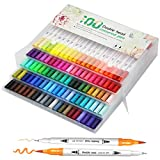【U UZOPI】 水性ペン カラーペン 水彩毛筆 アートマーカー サインペン 100色セット 細字太字両用 鮮やか 手帳 イラスト 色塗り 塗る絵 カード DIY こども 大人