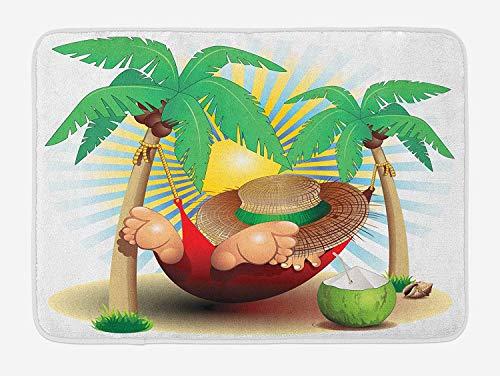 okstore1988 Beach Bath Mat, Illustration Relax Exotic Summer Holidays on Hammock Theme Hot Paradise Lands, Plush Bathroom Decor Mat with Non Slip Backing, Green White 15.7' X 23.5' Inches