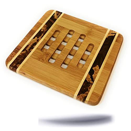 Kerafactum eleganter dekorativer Untersetzer aus Natur Holz Bambus eckig 16 cm Bambusuntersetzer für Töpfe Vasen Kessel Topfuntersetzer Bamboo pan Coaster gemasert und geschlitzt aus Bambusholz