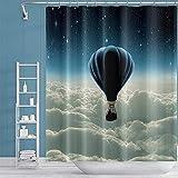 Luftballon Duschvorhang Teal Sternenhimmel Traumhafter Duschvorhang Set Ballon über Wolken bei Nacht Print Kunststoff Dekorativer Badvorhang für Badezimmer Badewanne Wohnkultur