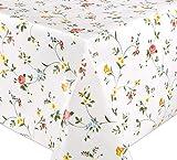 WACHSTUCH Tischdecken, Meterware abwischbar, Größe wählbar, 220x140 cm, Glatt Klassisch Blümchen
