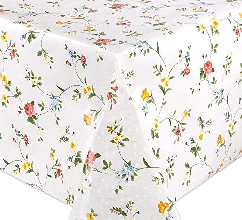 WACHSTUCH Tischdecken, Meterware abwischbar, Größe wählbar, 100x140 cm, Glatt Klassisch Blümchen
