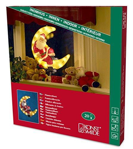 """Konstsmide 2860-000 Fensterbild \""""Weihnachtsmann im Mond\"""" / für Innen (IP20) / 230V Innen / 20 klare Birnen / weißes Kabel"""