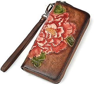 TOOGOO Women Wallet Female Genuine Leather Long Clutch Wallets Flower Embossing Zipper Wallet Women Card Purse Bag Coffee