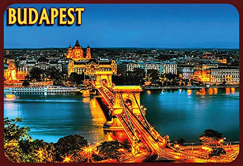 NWFS Budapest Ungarn beleuchtete Brücke Blechschild Metallschild Schild Metal Tin Sign gewölbt lackiert 20 x 30 cm