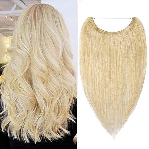 Haarverlängerung Extensions Blond Echthaar mit Unsichtbarem Draht Günstig Haarteil Keine Clips Glatt Human Hair 45cm 65 Gramm