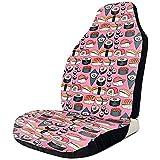 Alice Eva Set di 2 protezioni per sedili anteriori a tema per auto a tema per sushi Nori Sushi rosa giapponese carino