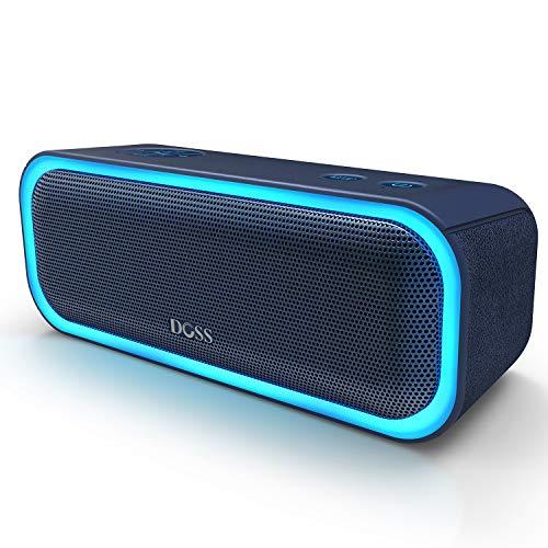 DOSS SoundBox Pro Bluetooth 4.2-luidspreker 20W-luidsprekerbox met dubbele driver Betere bas stereo-koppeling Veelkleurige LED-lampjes 12 uur speeltijd voor iPad Echo Dot en andere apparaten 【Blauw】