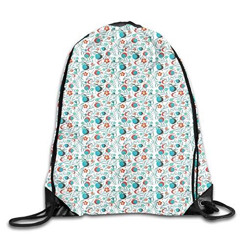 Rucksack mit Blättern und Früchten, abstrakter Hof, wirbelnde Blätterstiele, Kordelzug, Rucksack, Schultertasche, Turnbeutel, Sporttasche