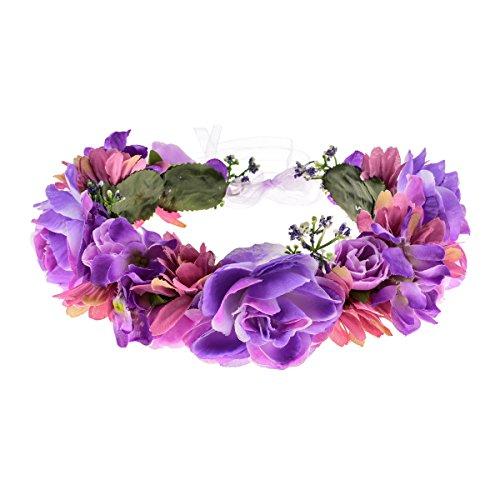 Love Sweety Rose Flower Headband Floral Crown Garland Halo (5# Violet)