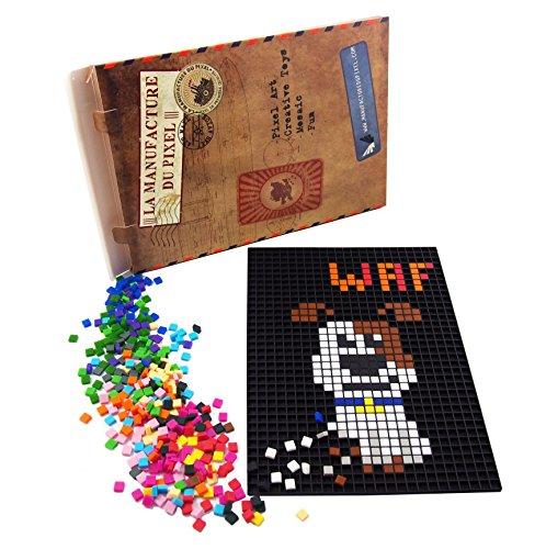 La Manufacture du Pixel - Pack 1 Grille et 1000 Pixels à insérer (Noir) - Pixel Art, Loisir Créatif, Mosaïque, Fun ! - Créez à l
