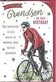 Prelude Tarjeta de cumpleaños para nieto ~ para un nieto especial en su cumpleaños ~ Tarjeta de temática deportiva con diseño de Moutain Bike tamaño mediano 23 cm x 16 cm