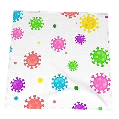 Ye Hua Mantel Individual de microbiología de Dibujos Animados Coloridos, Mantel Individual de Aislamiento Antideslizante de Vinilo Negro Tejido Cruzado, Juego de 4 manteles Lavables