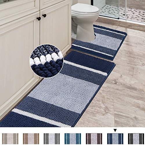 Bathroom Rugs Luxury Chenille Mat Set Soft Plush Shower Rug + Toilet Mat, Microfiber Striped Shaggy...