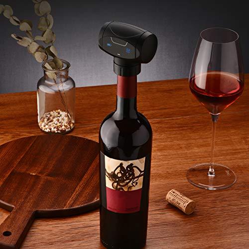 Wowlela Tapón de Botella Eléctrico con Bomba de Vacío Inteligente para Mantener el Vino Fresco Sellador de Botellas Que Mantiene el Vino Fresco y Antiderrame para los Amantes del Vino