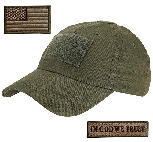 Lightbird Tactical Hat with 2 Pieces Military Patches, Adjustable Operator OCP US Flag Hats Cap (OD Green)