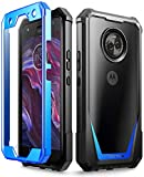 Moto X4 Case, Poetic Guardian [Scratch Resistant Back] Full-Body Rugged Clear Hybrid Bumper Case with Built-in-Screen Protector for Motorola Moto X4 Blue