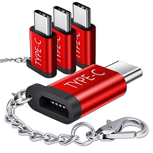 JSAUX Adaptador Micro USB a USB C (4Pack) Adaptador USB C Macho a Micro USB Hembra Duradero AVCE Cadena antipérdida Compatible para Samsung S10 S9 S8 Note10 / 9/8, Huawei P9 / P20-Rojo
