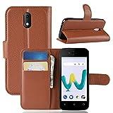95Street Handyhülle für Wiko Sunny 3 Mini Schutzhülle Book Hülle für Wiko Sunny 3 Mini Hülle Klapphülle Tasche im Retro Wallet Design mit Praktischer Aufstellfunktion Braun