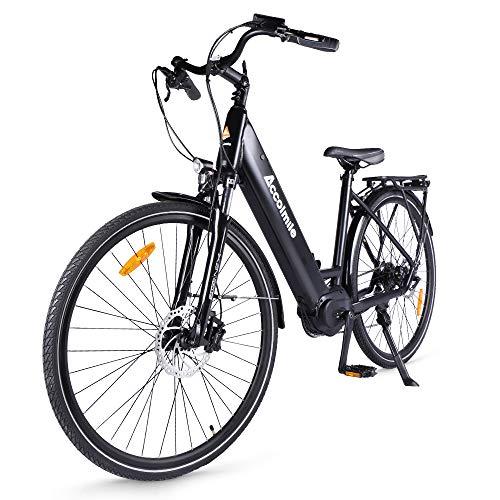 "Accolmile Bicicleta Eléctrica 28"" 700C, Ebike de Ciudad con 36V 250W Motor de Media Torsión BAFANG M200, City Bicicleta de Paseo Pedelec, Adultos Unisex, Batería 15Ah 540Wh, Shimano 8 Velocidades"