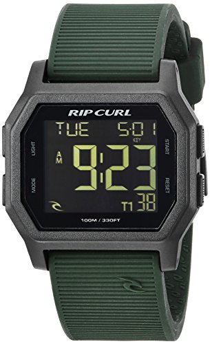 Rip Curl Men's Atom Quartz Sport Watch with Silicone Strap, Green, 24 (Model: A2701-MIL)