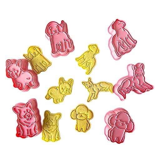 GS 6 Pack Hunde Ausstechformen, 3d Cookies Cutter, Handpresse Keksstempel, Keksausstecher Osterausstecher Plätzchenform, Weihnachten Kunststoff Ausstecher Set