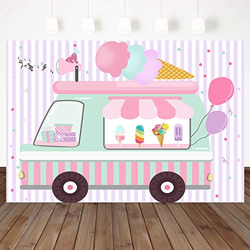 Mocsicka Ice Cream Birthday Party Backdrop Ice Cream Truck Birthday Party Background Ice Cream Shop Girls Birthday Party Cake Table Decoration Photo Booth Props (7x5ft)