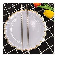MAODING 1ペアステンレス箸耐久性に優れた食品スティックの伝統的な花柄23センチメートルステンレス箸食器 (Size : G)