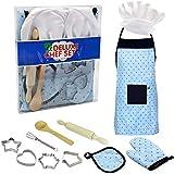 Kinderküche Zubehör,Küchenspielzeug Kinderkoch Kostüm 11-teilig Rollenspiel Küchenutensilien Kinderkochschürze Mit Kochmütze Ofenhandschuh