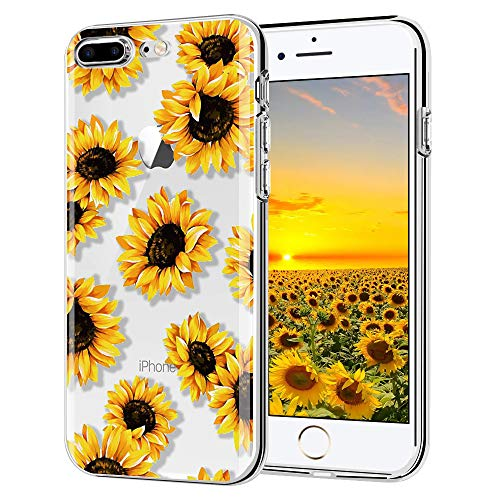 "iPhone 6 Plus case, iPhone 6s Plus case, AIKIN Simply Designed Flower Pattern Case Soft TPU Flexible Case Shockproof Protective Cute Case for iPhone 6s Plus, iPhone 6 Plus 5.5"" (Sunflower + Clear)"