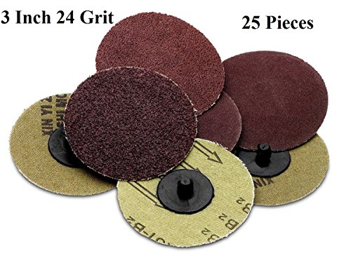 Roloc sanding Disc – 25 Piece Set of Heavy Duty and Durable 3 inches 24 Grit Sander - Automotive, Tools & Equipment, Body Repair Tool - By Katzco