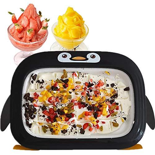 Plancha Givrée pour Glaces en Rouleaux, Rolling Ice Cream Grill, Mini Ice Cream Rolls Machine Machine Bouillie De Crème Glacée Aux Fruits Plateau De Glace Frite avec Pelle