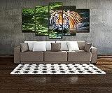 JINGMEI 5 Mural De Lienzo Combinado Impresión En HD Tiger Foraging In The Water Sala De Estar Dormitorio Obra De Arte Estirada Y Enmarcada Pintura Al Óleo Lienzo Foto 150X80Cm