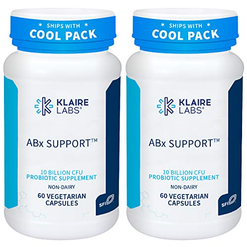 Klaire Labs ABX Support Probiotic - 10 Billion CFU Supplement for Support During Antibiotic Therapy, Hypoallergenic & Non-Dairy (60 Capsules, 2 Pack)