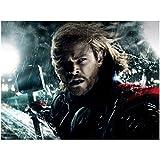 Chris Hemsworth 8x10 Photo Thor/Avengers Headshot Rain Storm Windy w/Hammer kn