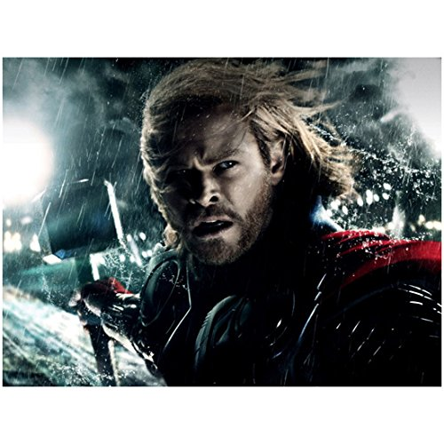Chris Hemsworth 8x10 Photo Thor/Avengers Headshot Rain Storm Windy w/Hammer kn