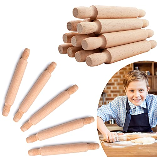15 Pieces Wooden Mini Rolling Pins, 6 Inches Kids Wood Mini Rolling Pin for Crafts, Kitchen Long Rolling Pin Small Dough Roller, Great for Baking Fondant Pasta Pastry and Children