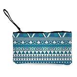 National Aztec Art Monedero de lona para mujer, bolsa de maquillaje con cremallera, cartera para mujer, 4.5 x 8.5 pulgadas