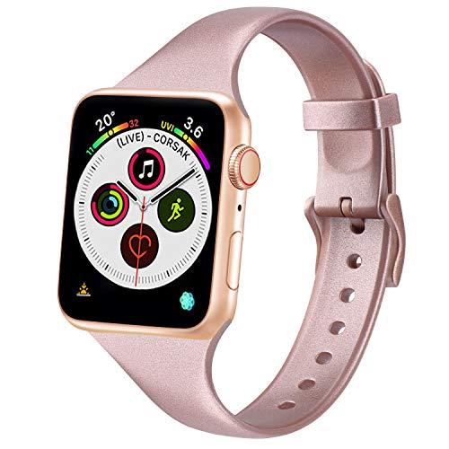 Oumida Silicona Correa Compatible con Apple Watch 38mm 42mm 40mm 44mm, Pulsera de Repuesto Delgada Estrecho de Silicona Suave para iWatch Series 6 5 4 3 2 1 (42mm/44mm S/M, Oro Rosa)
