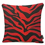 oFloral Red and Black Zebra Print Stripes Animal Print Throw Pillow Case Decor Cushion Cover 18x18 Inch Square Cotton Linen